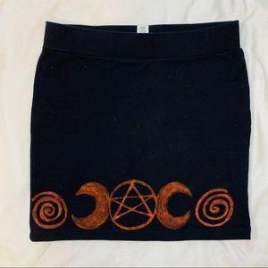 Dresses & Skirts - OOAK Pentacle Moon Occult Symbols Mini Skirt